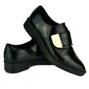 Aldo Black Patent Pointed Toe Creeper Loafers 8